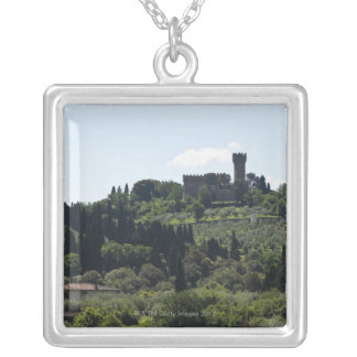 Italy, Florence, Castle on hilltop Silver Plated Necklace