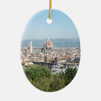 Italy Florence Duomo Michelangelo Square (New) Double-Sided Oval Ceramic Christmas Ornament