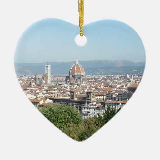 Italy Florence Duomo Michelangelo Square (New) Double-Sided Heart Ceramic Christmas Ornament