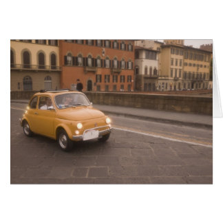 Italy, Florence. Fiat 800 Rally crosses Arno Greeting Card
