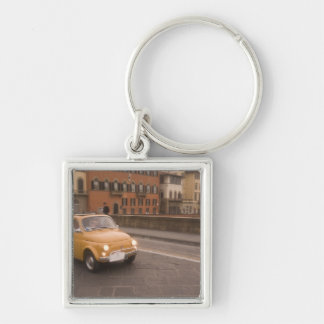 Italy, Florence. Fiat 800 Rally crosses Arno Keychain