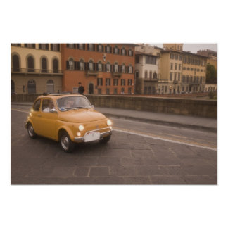 Italy, Florence. Fiat 800 Rally crosses Arno Poster