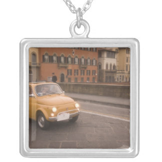 Italy, Florence. Fiat 800 Rally crosses Arno Silver Plated Necklace