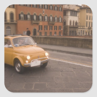 Italy, Florence. Fiat 800 Rally crosses Arno Square Sticker