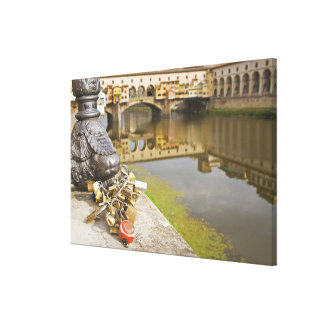 Italy, Florence, Love Locks and Reflections in Canvas Print