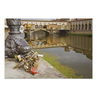 Italy, Florence, Love Locks and Reflections in Poster