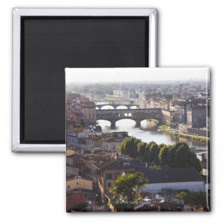 Italy, Florence, Ponte Vecchio and River Arno 2 Inch Square Magnet