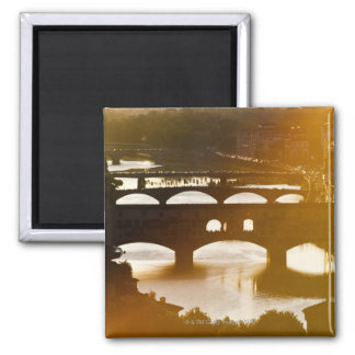 Italy, Florence, Ponte Vecchio and River Arno at 2 Inch Square Magnet