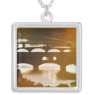 Italy, Florence, Ponte Vecchio and River Arno at Silver Plated Necklace