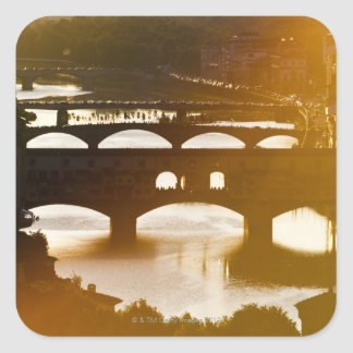 Italy, Florence, Ponte Vecchio and River Arno at Square Sticker