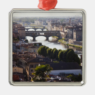 Italy, Florence, Ponte Vecchio and River Arno Square Metal Christmas Ornament