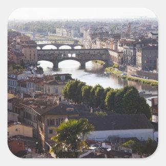Italy, Florence, Ponte Vecchio and River Arno Square Sticker