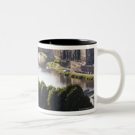 Italy, Florence, Ponte Vecchio and River Arno Two-Tone Coffee Mug