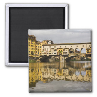 Italy, Florence, Reflections in the River Arno 2 Inch Square Magnet