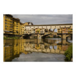 Italy, Florence, Reflections in the River Arno Poster