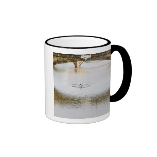 Italy, Florence, Rowing Sculls with Coffee Mug