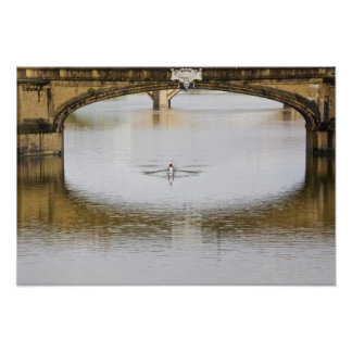 Italy, Florence, Rowing Sculls with Posters