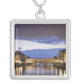 Italy, Florence. Stormy sky over the Ponte Square Pendant Necklace