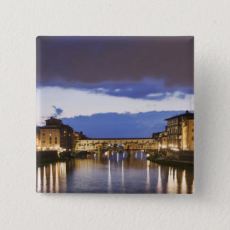 Italy, Florence. Stormy sky over the Ponte Pinback Button