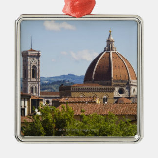 Italy, Florence, View of Florence Cathedral Square Metal Christmas Ornament
