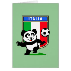 Italy Football Panda Greeting Card