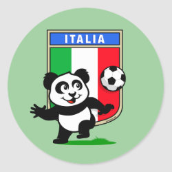 Round Sticker with Italy Football Panda design