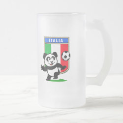 Frosted Glass Mug with Italy Football Panda design