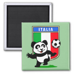 Italy Football Panda Square Magnet
