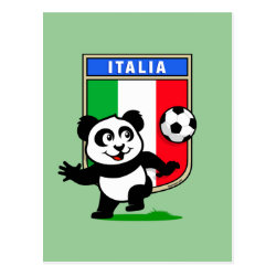 Postcard with Italy Football Panda design