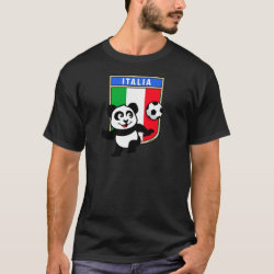 Men's Basic Dark T-Shirt with Italy Football Panda design