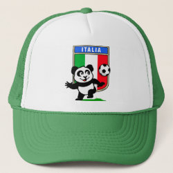 Trucker Hat with Italy Football Panda design