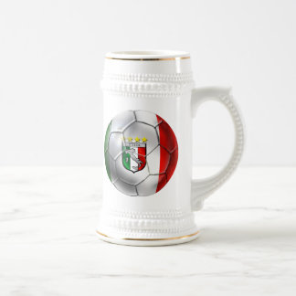 Italy Forza Azzurri Calcio Soccer Ball flag Beer Stein