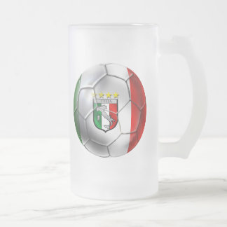 Italy Forza Azzurri Calcio Soccer Ball flag 16 Oz Frosted Glass Beer Mug