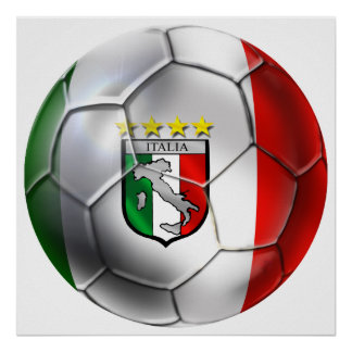Italy Forza Azzurri Calcio Soccer Ball flag Poster