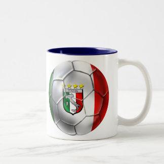 Italy Forza Azzurri Calcio Soccer Ball flag Two-Tone Coffee Mug