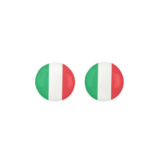 ITALY Green White And Red Flag Earrings