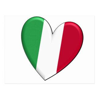 Italy Heart Flag Postcards