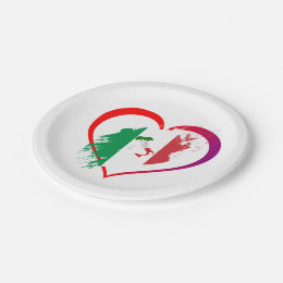 Italy heart paper plate  sc 1 st  Zazzle : italian paper plates - pezcame.com