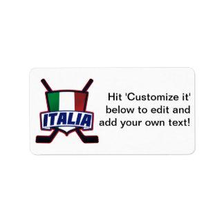 Italy Hockey su Ghiaccio Address Label