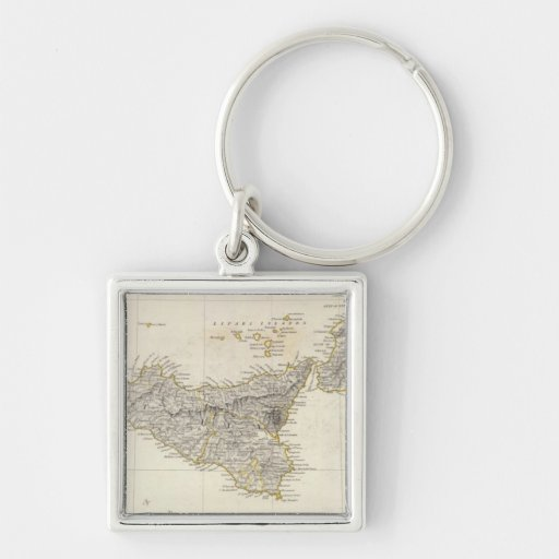 Italy III Silver-Colored Square Keychain