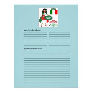 Italy-Italia blank meat recipe cards