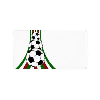 Italy . italia, calico football soccer address label