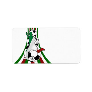 Italy italia, calico football soccer address label