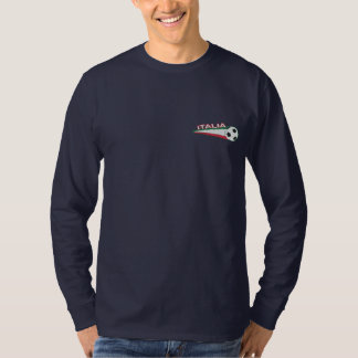 Italy italia Embroidered stripes and ball Embroidered Long Sleeve T-Shirt