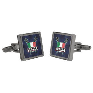 Italy Italia Flag Lacrosse Logo Cufflinks