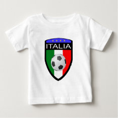 Italy / Italia Flag Patch - With Soccer Ball Baby T-shirt at Zazzle
