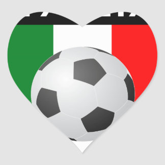 Italy / Italia Flag Patch - with soccer ball Heart Sticker