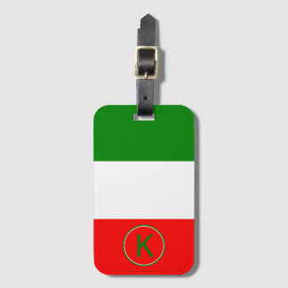 Italy Italian Flag Design with your Initials Luggage Tag