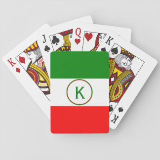 Italy Italian Flag Design with your Initials Playing Cards
