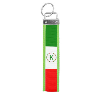 Italy Italian Flag Design with your Initials Wrist Keychain